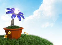 3D rendering Solar cells electric flower in a pot on grass field. And blue cloudy sky background Stock Photo