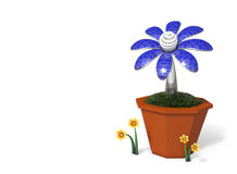 3D rendering Solar cells electric flower in a pot. Stock Photo