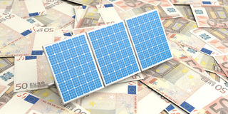 3d rendering solar panels on banknotes Stock Photo