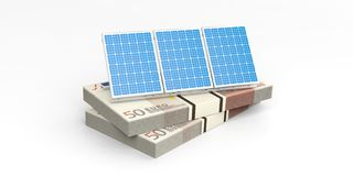 3d rendering solar panels on banknotes Stock Image