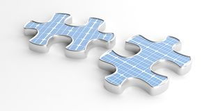 3d rendering solar panels on puzzle pieces Stock Image