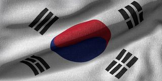 3d rendering of a South Korea flag with fabric texture vector illustration