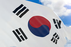 3D rendering of South Korea flag waving on blue sky Royalty Free Stock Images