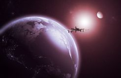 Space Station orbiting the Earth. 3D rendering of a space Station orbiting the Earth royalty free illustration