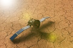 A spacecraft approaching a dry planet. 3D rendering of a spacecraft approaching a dry planet vector illustration