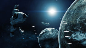 3D rendering of spaceship in battle a cosmic scene Royalty Free Stock Photo