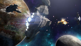 3D rendering of spaceship battle in a futuristic scene. 3D rendering of futuristic spaceships flying through space. There is a cosmic battle between the Royalty Free Stock Photos