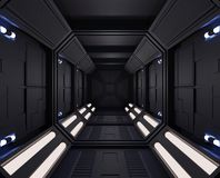 3D rendering Spaceship dark interior with view,tunnel,corridor small lights royalty free illustration