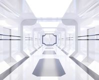 3D rendering Spaceship white and bright interior with view,tunnel,corridor vector illustration