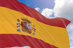 3D rendering of Spain flag waving on blue sky background Stock Photos