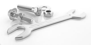 3d rendering spanner, nuts and bolts. On white background Royalty Free Stock Image