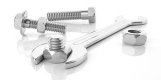 3d rendering spanner, nuts and bolts. On white background Royalty Free Stock Photo