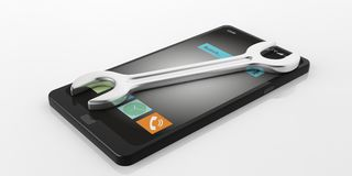 3d rendering spanner on a smart phone Royalty Free Stock Photo