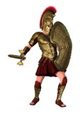 3D Rendering Spartan Warrior on White Royalty Free Stock Photo