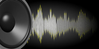3d rendering speaker and sound wave on black background Royalty Free Stock Images