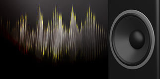 3d rendering speaker and sound wave on black background Stock Image