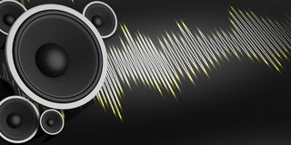 3d rendering speaker and sound wave on black background Stock Photography
