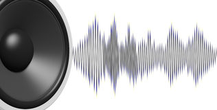 3d rendering speaker and sound wave on white background Stock Photos