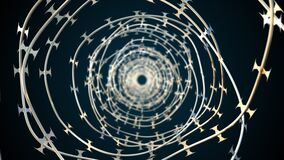 Computer generated background with barbed wire. 3d rendering spinning barbed wire spiral