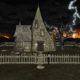 3D Rendering Spooky House Royalty Free Stock Photos