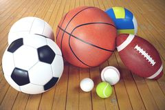 3d rendering sport balls on wooden backgorund. Set of sport balls. Sport equipment such us football, basketball. Baseball, tennis, golf ball for team and Royalty Free Stock Image