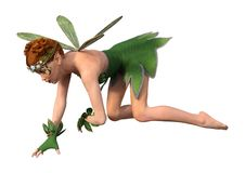 3D Rendering Spring Fairy on White Royalty Free Stock Photography