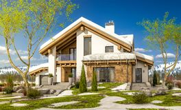3d rendering of spring modern cozy house in chalet style. 3d rendering of modern cozy house in chalet style with garage. The first warm spring rays of the sun Royalty Free Stock Image
