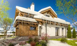 3d rendering of spring modern cozy house in chalet style. 3d rendering of modern cozy house in chalet style with garage. The first warm spring rays of the sun Royalty Free Stock Photo