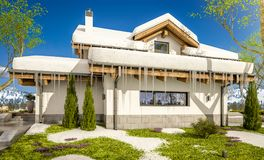 3d rendering of spring modern cozy house in chalet style. 3d rendering of modern cozy house in chalet style with garage. The first warm spring rays of the sun Stock Photos