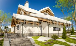 3d rendering of spring modern cozy house in chalet style. 3d rendering of modern cozy house in chalet style with garage. The first warm spring rays of the sun Stock Image