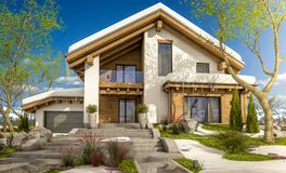3d rendering of spring modern cozy house in chalet style. 3d rendering of modern cozy house in chalet style with garage. The first warm spring rays of the sun Stock Photo