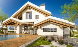 3d rendering of spring modern cozy house in chalet style. 3d rendering of modern cozy house in chalet style with garage. The first warm spring rays of the sun Royalty Free Stock Photography