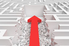 3d rendering of a square maze with a red arrow borrowing to the center in closeup view. Royalty Free Stock Images