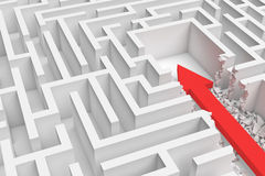 3d rendering of a square maze with a red arrow borrowing to the center in closeup view. Royalty Free Stock Photography