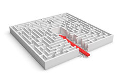 3d rendering of a square maze with a red arrow borrowing to the center isolated on white background. Mazes and labyrinths. Problems and solutions. Unexpected Royalty Free Stock Photography