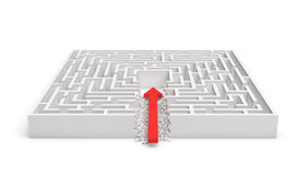 3d rendering of a square maze with a red arrow borrowing to the center isolated on white background. Mazes and labyrinths. Problems and solutions. Unexpected Royalty Free Stock Photo