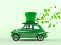 St. patricks day car driving with flying shamrocks. 3d rendering Royalty Free Stock Photos