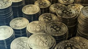 Stack of bitcoins future of economy Stock Images