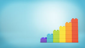 3d rendering of a stack of toy blocks building blocks made to look like a ladder in rainbow colors. Personal growth. Unique way of life. Positivity and success Stock Image