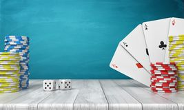 3d rendering of a stacks of casino chips with four ace cards on a wooden table on a blue background. Casino games. Stakes and bids. Poker night Royalty Free Stock Images