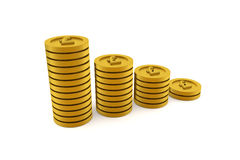 3D rendering of stacks of golden coins Royalty Free Stock Photos