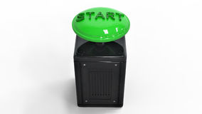 3D rendering. The start button. Stylish green color button. A symbol of the beginning of the movement. Starting a new business. Electrical parts of machinery Stock Photography