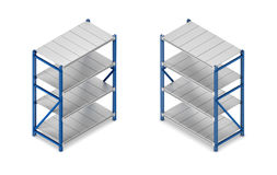 3d rendering of a steel grey-and-blue shelving unit in double-sided isometric view. Stock Image