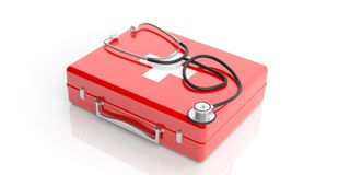 3d rendering stethoscope on a first aid kit Royalty Free Stock Image