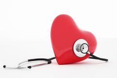 3D rendering stethoscope and heart Royalty Free Stock Image