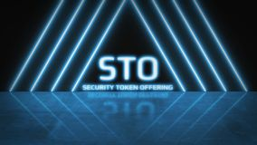 3D Rendering of STO Security Token Offering with blue glow led light and reflection on floor background. stock illustration