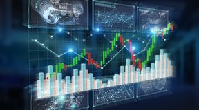 3D rendering stock exchange datas and charts illustration. On blue background royalty free illustration