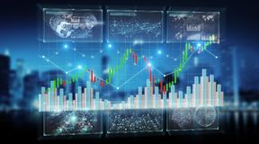 3D rendering stock exchange datas and charts illustration. On blue background stock illustration