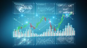 3D rendering stock exchange datas and charts illustration. On blue background vector illustration