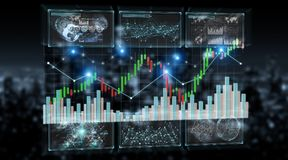 3D rendering stock exchange datas and charts illustration. On dark background Stock Photography